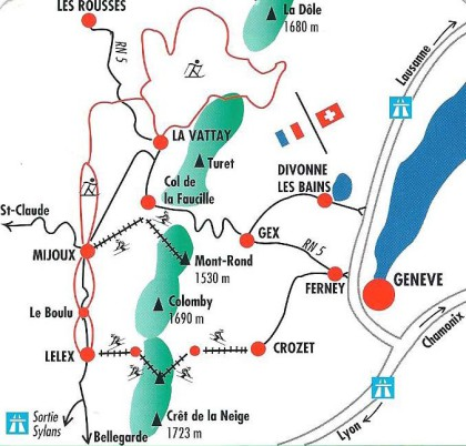 Depuis Lyon et Bourg, prendre la sortie Bellegarde, puis Genève, puis Gex par voie rapide, La Faucille, La Vattay. Ou Sortie Sylans, puis Lelex, Mijoux, La Vattay / Depuis Lausanne Sortie Coppet Divon